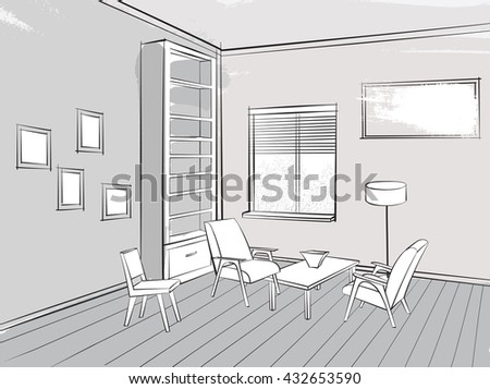 Living room lounge interior sketch Place for reading with armchair - stock vector