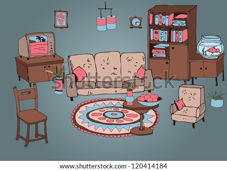 living room second - stock vector
