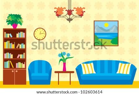 Living room. vector - stock vector