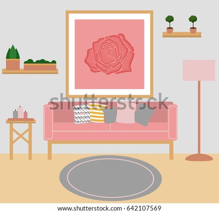 Living Room Vector Flat Designflat Illustration Stock Photo (Photo ...