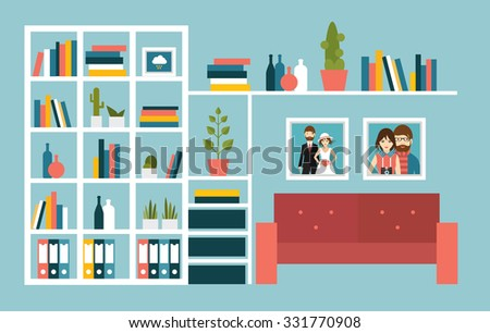 Living Room Wall With Red Sofa And Book Shelves Flat Design Vector Ilration