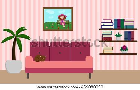 Living Room Cat On Sofa Book Stock Vector 656080090 - Shutterstock