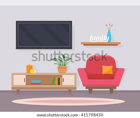 Living room with chair and television. Cozy interior in living room.  Flat style vector illustration. - stock vector
