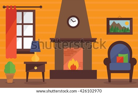 Living Room With Fireplace Interior Design Background Traditional Chairlamptable
