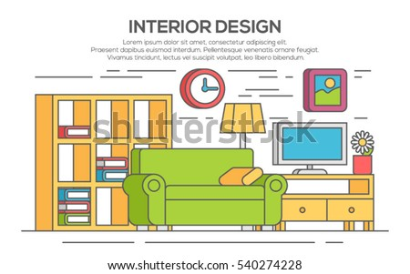 Living Room With Furniture Concept Of Interior Design Thin Line Flat