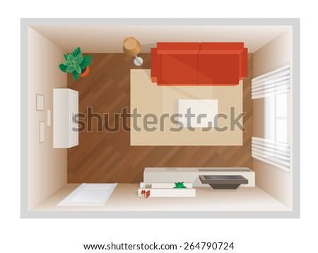 living room with furniture top view - stock vector