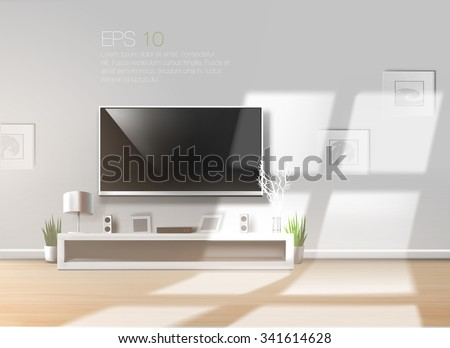 Living room with low shelf and flat TV on a bright sunny day. High quality realistic vector  template.