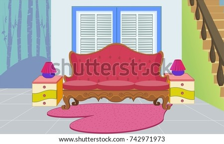 Living Room Red Sofa Stock Vector 742971973 - Shutterstock