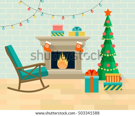 Christmas Tree Fireplace Stock Images Royalty Free Images