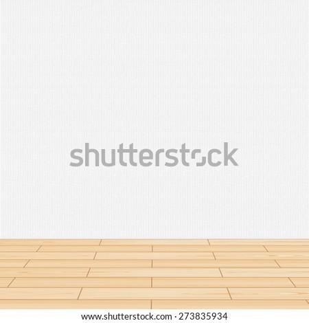 Living room wooden floor & wall - stock vector