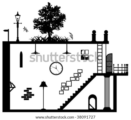 Living space vector abstract, black and white - stock vector