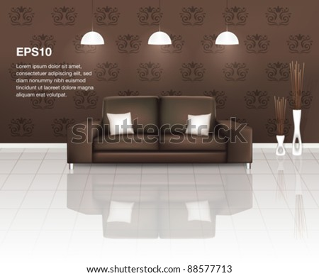 Living Space with Brown Sofa (EPS10) - stock vector