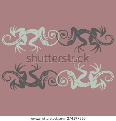Lizards seamless pattern - stock vector