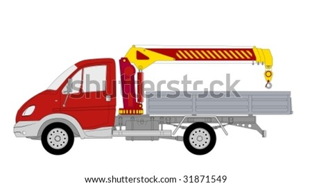 Lkw truck with crane manipulation - stock vector