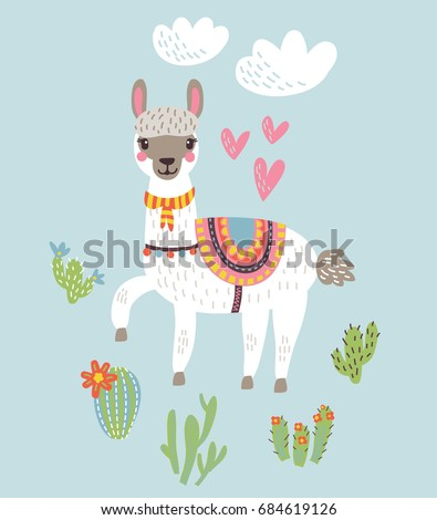 Llama Alpaca.Vector illustration