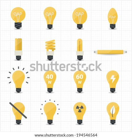 Llight Bulb Icons - stock vector
