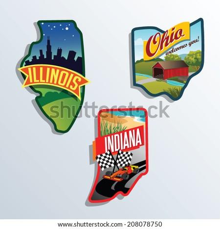 llinois, Indiana, Ohio, United States vector illustrations - stock vector