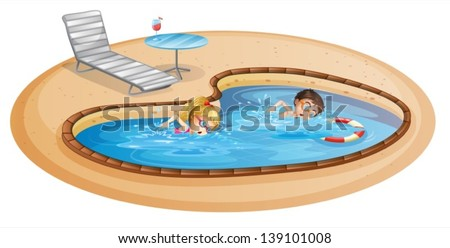 lllustration of a girl and a boy swimming at the pool on a white background - stock vector