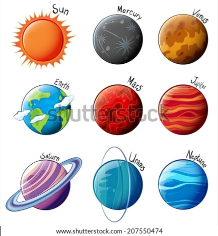 lllustration of the planets of the Solar System on a white background - stock vector