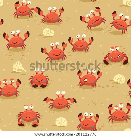llustration endless background with crabs. Vector childish backdrop - stock vector