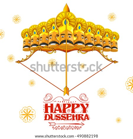 llustration of Raavana with ten heads on bow and arrow for Dussehra Navratri festival of India poster