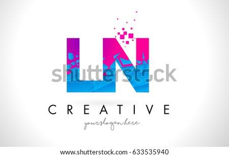 Ln l n letter logo broken stock vector 633535940 shutterstock ln l n letter logo with broken shattered blue pink triangles texture design vector illustration thecheapjerseys Gallery