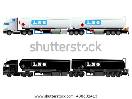 LNG gas tanker truck, LNG transporter. Vector illustration. Flat style. Silhouette. Icon. Isolated on white