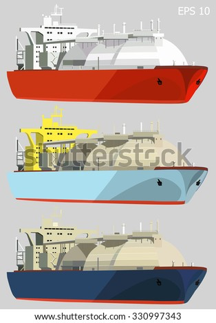 LNG tankers, gas carrier ships, isolated on grey, set of three, vector illustration