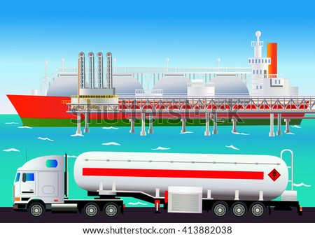LNG terminal, with tanker and truck. Vector illustration. Flat style. All objects are located on separate levels