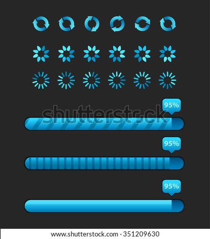 Load indicators set isolated on background. Vector collection of preloaders, progress loading bars - stock vector
