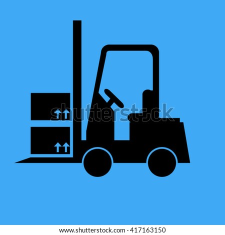 Loaded Fork Lift Truck Single Icon-Vector Illustration - stock vector