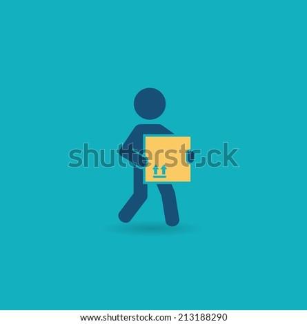 loader bears box icon - stock vector