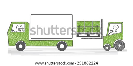 Loading a truck with cargo - stock vector