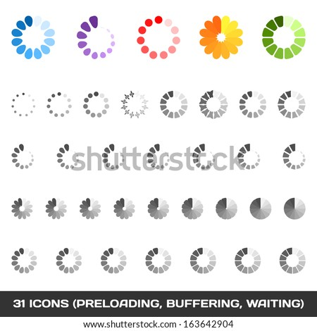 Loading And Buffering Icon Set. Preloaders. Vector - stock vector