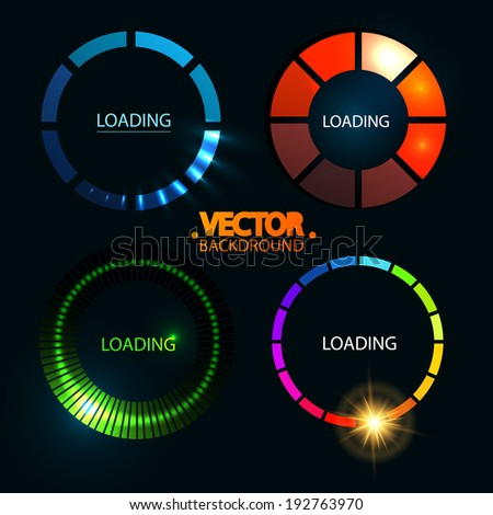Loading And Buffering Icon Set. Preloaders. Vector illustration - stock vector