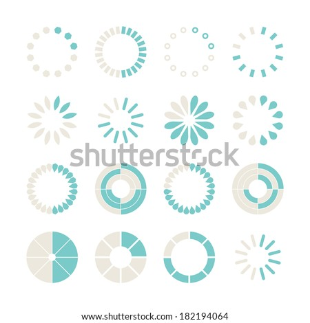 Loading and buffering icon set. Vector illustration - stock vector