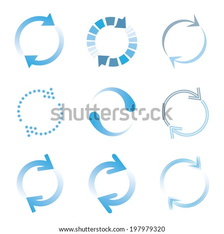 loading and buffering icons set - stock vector
