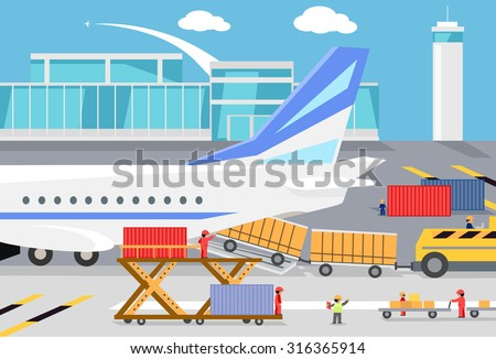 Loading freight containers in a cargo plane. Transportation and delivery, logistic shipping, service industry, load airplane, airport terminal, import express and distribution freighter illustration - stock vector