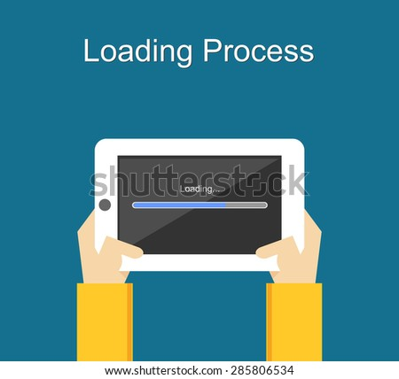 Loading process concept illustration. Flat design. Loading process status. Loading process on gadget. Waiting loading process. - stock vector