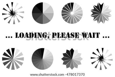 Loading, progress or buffering spinning icons