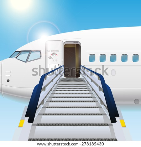 Loading ramp with airplane - stock vector