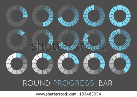 loading status icons, round progress bar - stock vector