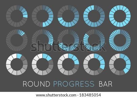 loading status icons, round progress bar - stock vector