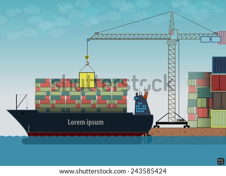 Loading, unloading of cargo Ship in port. Vector illustration - stock vector