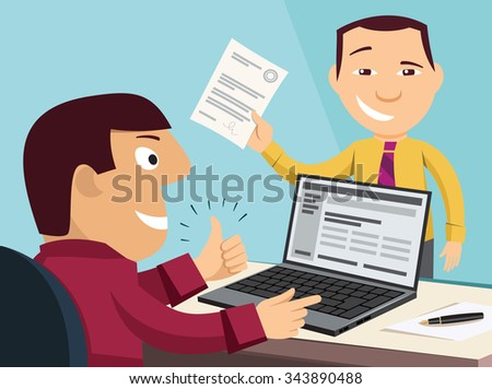 Loan application. Customer Care Center. Approval documents. Processing the application in the office. Funny experienced banker solves the problem. Simple flat design vector cartoon illustration. - stock vector