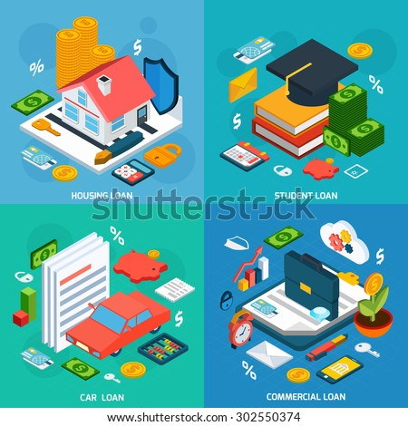 Loans design concept set with housing student and car investment isometric icons isolated vector illustration - stock vector