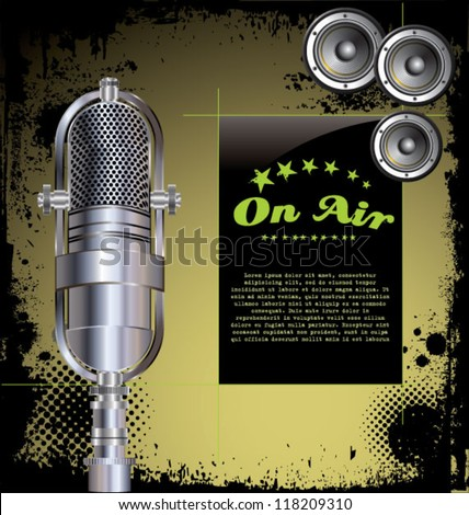 Local radio station - grunge background - stock vector