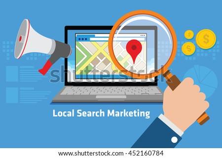 local search marketing - stock vector