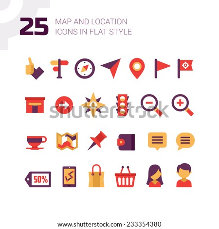 Location and navigation map icons. Set of icons in flat design style for setting direction, showing places on map, different navigation usage, geo targeting. - stock vector