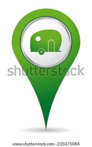 location caravan icon in green color - stock vector